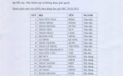 Thông báo nộp học phí sinh viên K09 và K10 – học kỳ 1 (2010-2011)