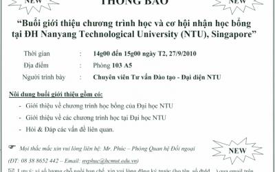 Buổi giới thiệu chương trình học và cơ hội nhận học bổng tại NTU