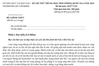 Đề thi & đáp án môn Văn, Lý – kỳ thi thử THPT Quốc gia 2015 toàn TP.HCM