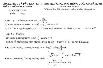 Đề thi & đáp án môn Toán, Anh – kỳ thi thử THPT Quốc gia 2015 toàn TP.HCM