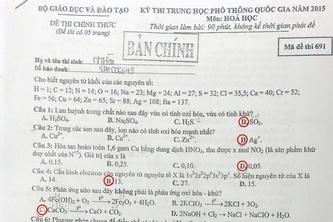 Đề thi & Đáp án môn Hóa học – Kỳ thi THPT Quốc gia 2015