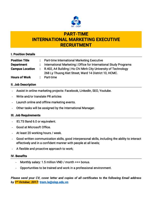 Part time Marketing Executive Recruitment 22Sep2017