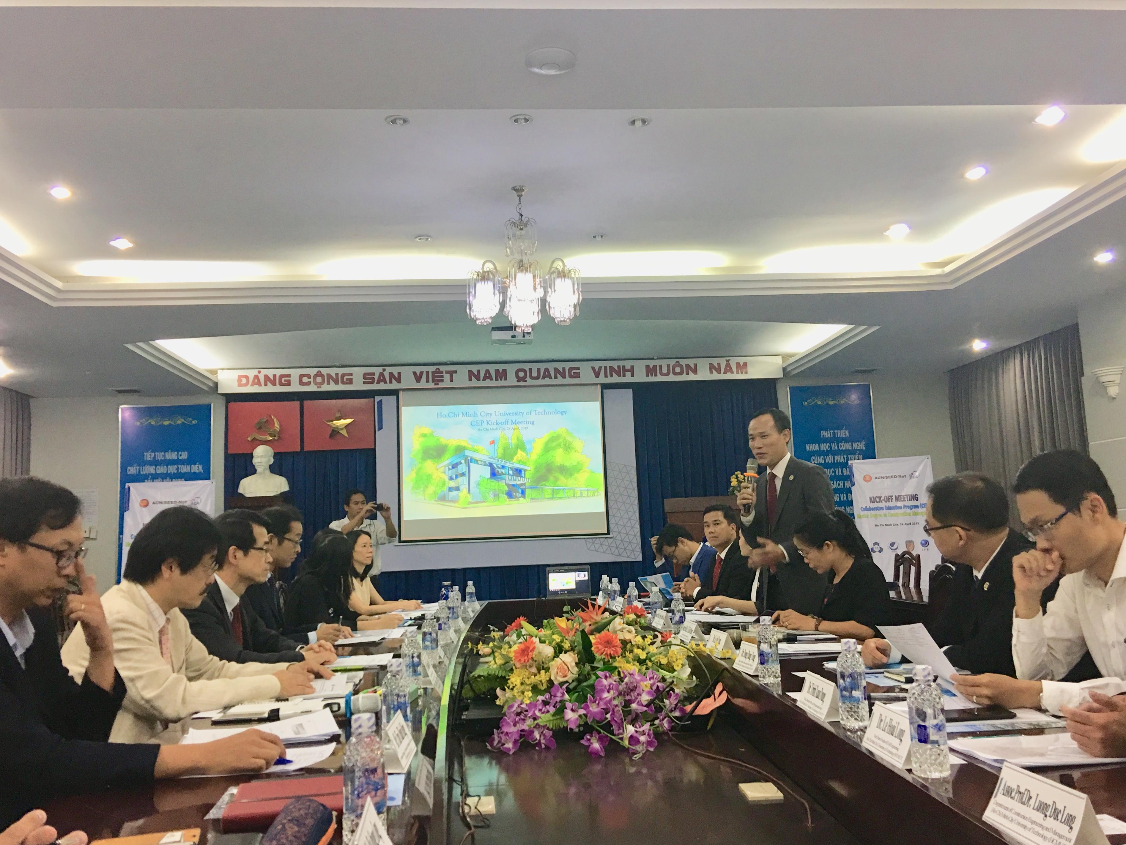 HCMUT Vice Rector Nguyen Danh Thao opening CEP Kick off meeting HCMUT Bach khoa YNU YTU JFE
