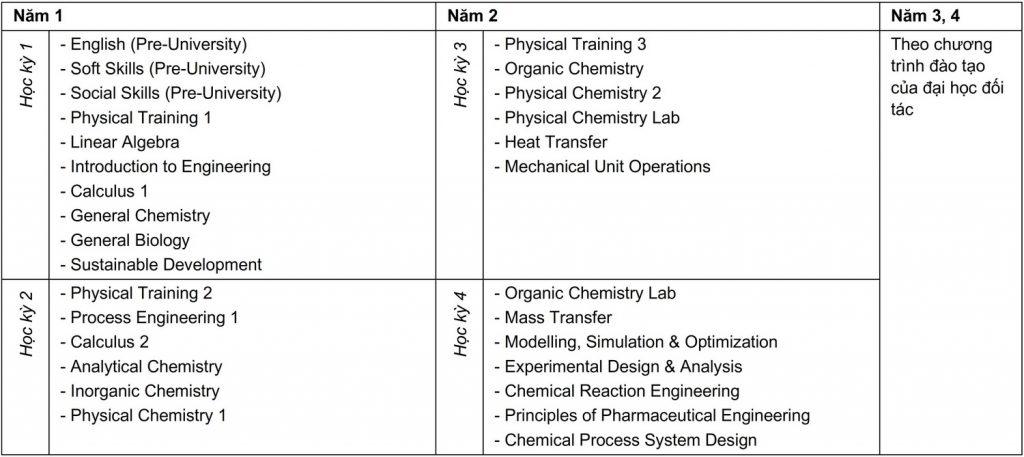 Curriculum Kỹ thuật Hóa Dược - Liên kết Quốc tế